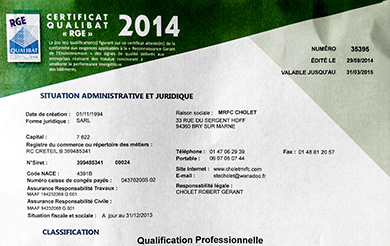Attestation Qualibat RGE